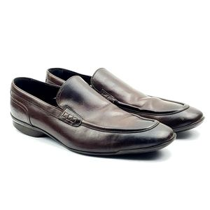 Doucals Italian brown leather loafers slip ons